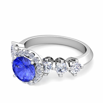 Crown Set Diamond and Ceylon Sapphire Engagement Ring in Platinum, 7mm
