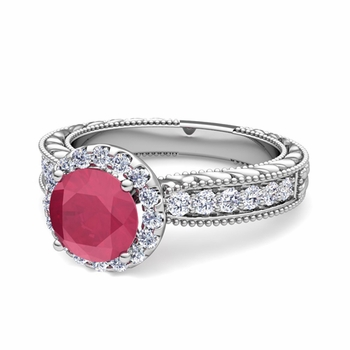 Vintage Inspired Diamond and Ruby Engagement Ring in Platinum, 6mm