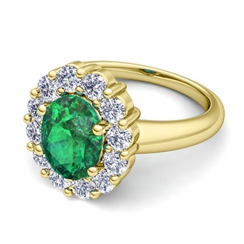 Halo Diamond and Emerald Diana Ring in 18k Gold, 7x5mm