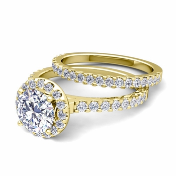 Halo Bridal Set: Petite Pave Set Diamond Engagement Wedding Ring in 18k Gold