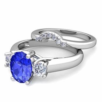 Classic Diamond and Ceylon Sapphire Three Stone Ring Bridal Set in 14k Gold, 7x5mm