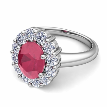 Halo Diamond and Ruby Diana Ring in Platinum, 9x7mm