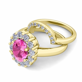 Diana Diamond and Pink Sapphire Engagement Ring Bridal Set in 18k Gold, 9x7mm