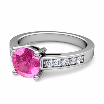 Pave Diamond and Solitaire Pink Sapphire Engagement Ring in Platinum, 7mm