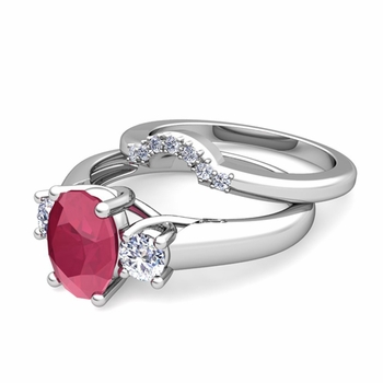 Classic Diamond and Ruby Three Stone Ring Bridal Set in 14k Gold, 7x5mm