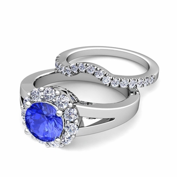 Radiant Diamond and Ceylon Sapphire Halo Engagement Ring Bridal Set in Platinum, 7mm