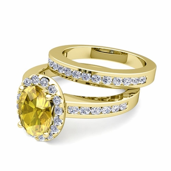 Halo Bridal Set: Diamond and Yellow Sapphire Engagement Wedding Ring in 18k Gold, 9x7mm