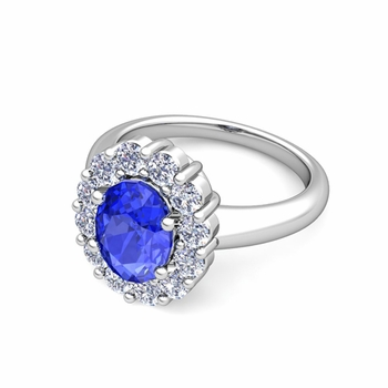 Halo Diamond and Ceylon Sapphire Diana Ring in 14k Gold, 8x6mm