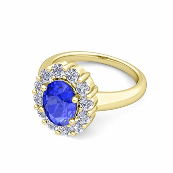 Halo Diamond and Ceylon Sapphire Diana Ring in 18k Gold, 8x6mm