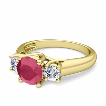 Trellis Diamond and Ruby Three Stone Ring in 18k Gold, 6mm