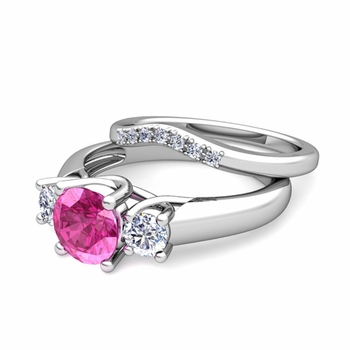 Trellis Diamond and Pink Sapphire Three Stone Ring Bridal Set in 14k Gold, 7mm