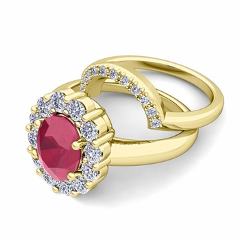 Diana Diamond and Ruby Engagement Ring Bridal Set in 18k Gold, 9x7mm