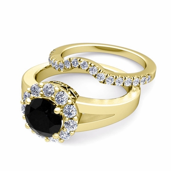 Black and White Diamond Halo Engagement Ring Bridal Set in 18k Gold, 5mm