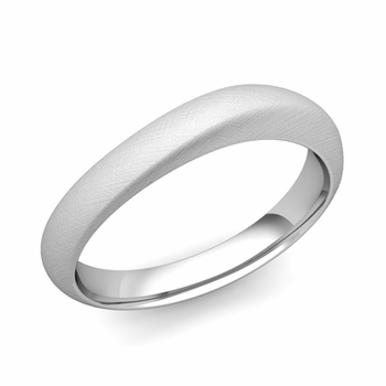 Curved Wedding Band in Platinum Brushed Finish Comfort Fit Ring, 4mm