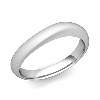Curved Wedding Band in Platinum Matte Finish Comfort Fit Ring, 4mm