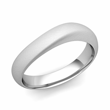 Curved Wedding Band in Platinum Brushed Finish Comfort Fit Ring, 5mm
