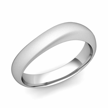 Curved Wedding Band in Platinum Matte Finish Comfort Fit Ring, 5mm