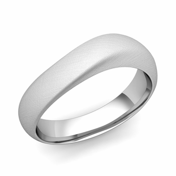 Curved Wedding Band in Platinum Brushed Finish Comfort Fit Ring, 6mm