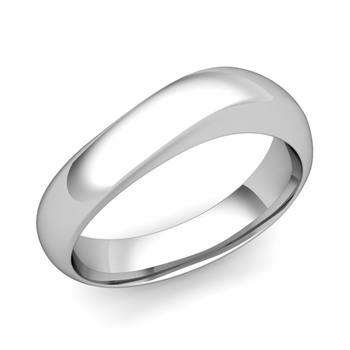 Curved Wedding Band in Platinum Polished Finish Comfort Fit Ring, 6mm
