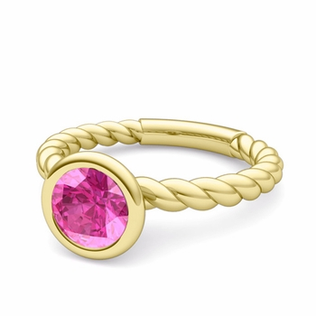 Bezel Set Solitaire Pink Sapphire Ring in 18k Gold Twisted Rope Band, 7mm