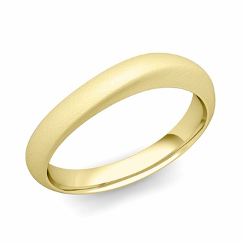 Curved Wedding Band in 18k Gold Brushed Finish Comfort Fit Ring, 4mm