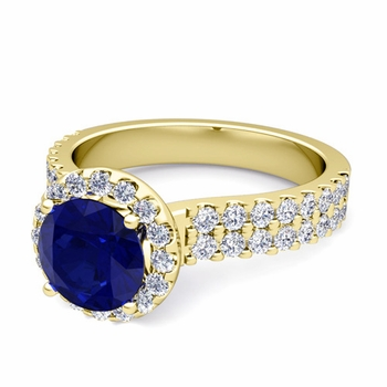 Two Row Diamond and Sapphire Engagement Ring in 18k Gold, 6mm