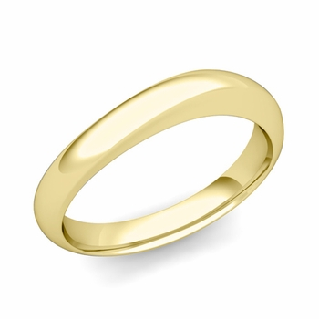 Curved Wedding Band in 18k Gold Polished Finish Comfort Fit Ring, 4mm