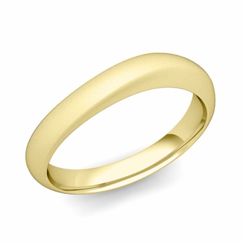 Curved Wedding Band in 18k Gold Matte Finish Comfort Fit Ring, 4mm
