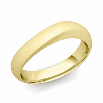 Curved Wedding Band in 18k Gold Brushed Finish Comfort Fit Ring, 5mm