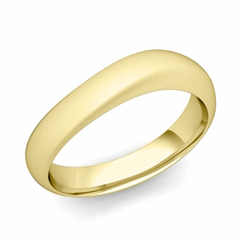 Curved Wedding Band in 18k Gold Matte Finish Comfort Fit Ring, 5mm