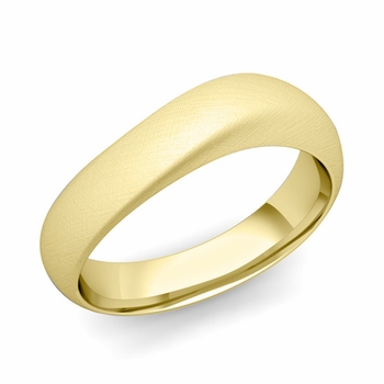 Curved Wedding Band in 18k Gold Brushed Finish Comfort Fit Ring, 6mm