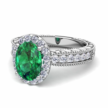 Vintage Inspired Diamond and Emerald Engagement Ring in 14k Gold, 7x5mm