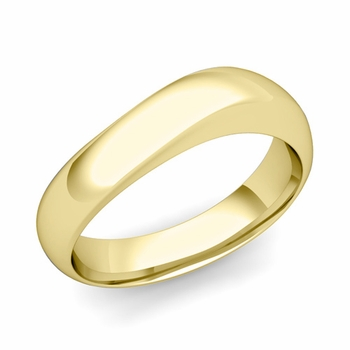 Curved Wedding Band in 18k Gold Polished Finish Comfort Fit Ring, 6mm