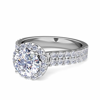 Two Row GIA Diamond Engagement Ring in 14k Gold