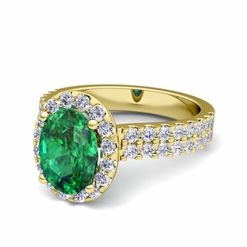 Two Row Diamond and Emerald Engagement Ring in 18k Gold, 8x6mm