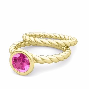 Bezel Set Pink Sapphire Ring and Rope Wedding Band Bridal Set in 18k Gold, 7mm