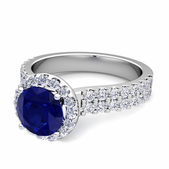 Two Row Diamond and Sapphire Engagement Ring in Platinum, 7mm