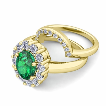Diana Diamond and Emerald Engagement Ring Bridal Set in 18k Gold, 9x7mm