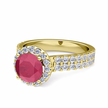 Two Row Diamond and Ruby Engagement Ring in 18k Gold, 6mm