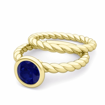 Bezel Set Blue Sapphire Ring and Rope Wedding Band Bridal Set in 18k Gold, 7mm
