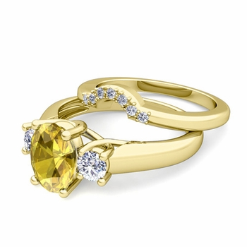 Classic Diamond and Yellow Sapphire Three Stone Ring Bridal Set in 18k Gold, 8x6mm