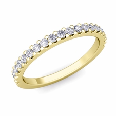 Petite Pave Diamond Wedding Ring Band in 18k gold, 0.32 cttw