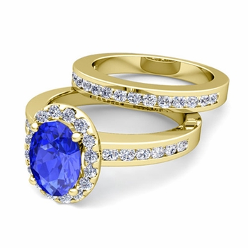 Halo Bridal Set: Diamond and Ceylon Sapphire Engagement Wedding Ring in 18k Gold, 9x7mm