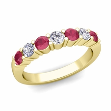 7 Stone Diamond and Ruby Wedding Ring in 18k Gold
