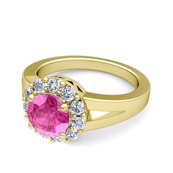 Radiant Diamond and Pink Sapphire Halo Engagement Ring in 18k Gold, 7mm