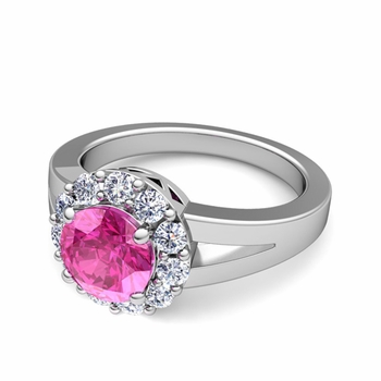 Radiant Diamond and Pink Sapphire Halo Engagement Ring in Platinum, 7mm