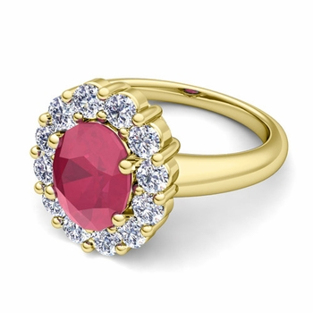 Halo Diamond and Ruby Diana Ring in 18k Gold, 9x7mm