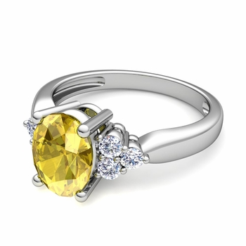 Three Stone Diamond and Yellow Sapphire Engagement Ring in Platinum, 9x7mm