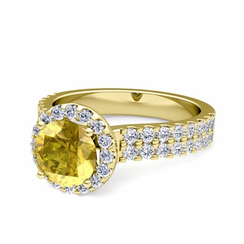 Two Row Diamond and Yellow Sapphire Engagement Ring in 18k Gold, 7mm