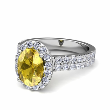 Two Row Diamond and Yellow Sapphire Engagement Ring in Platinum, 7x5mm